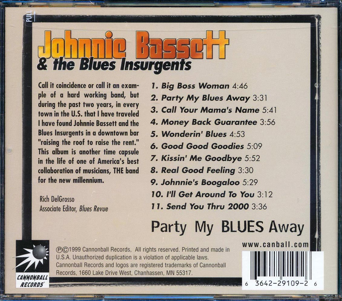 SEALED-NEW-CD-Johnnie-Bassett-amp-The-Blues-Insurgents-Party-My-Blues-Away miniatuur 2